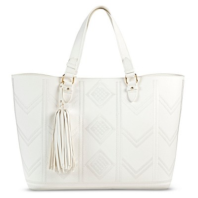 Women's Embroidered Tote Faux Leather Handbag - Merona™