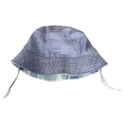 Newborn Boys' Reversible Bucket Hat Blue/Plaid 0-6M - Cherokee®
