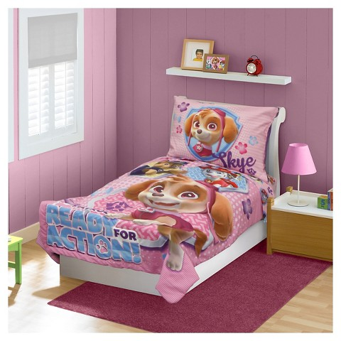 paw patrol skye 4 pc toddler bed set pink product details page