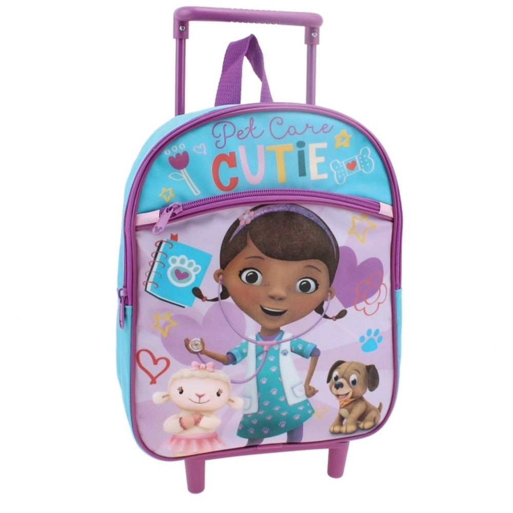 Disney 12 Doc McStuffins Pet Care Cutie Rolling Kids Backpack - Purple/Blue