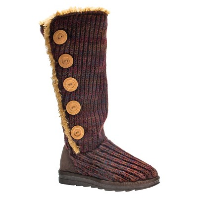 Women's MUK LUKS® Malena Crochet Button Up Boots - Dark Red 6