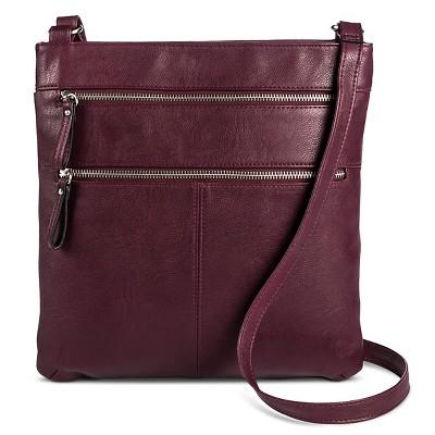 Women's Crossbody Faux Leather Handbag with Double Zipper Detail Wine - Merona™