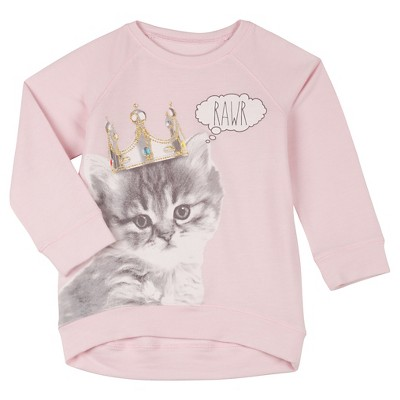 Toddler Girls' Kitty Pullover Sweater - Pink 12-18 M