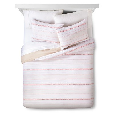 Line Geo Duvet Set - Coral - Room Essentials™