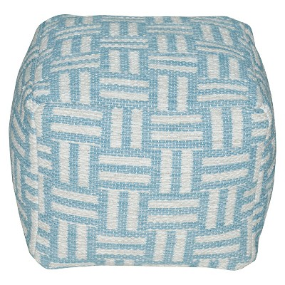 Threshold Hand Woven Cotton Teal Pouf