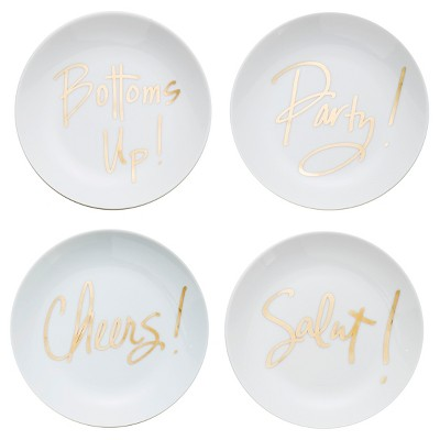 Plates Prima Design White Holiday Gold Solid
