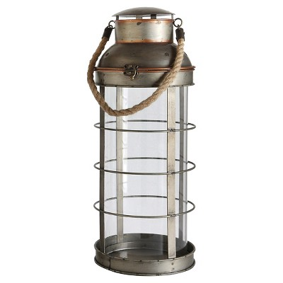 "Metal and Glass Lantern (29-1/2""H)"