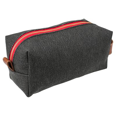 Personalized Charcoal Waxed Canvas & Leather Dopp Kit - No Letter