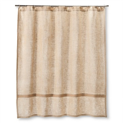 "Homthreads™ Burlap Band Shower Curtain - Natural (72""x72"")"