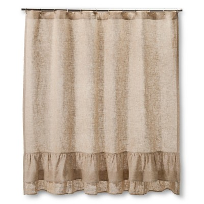 "Homthreads™ Burlap Ruffles Shower Curtain - Natural (72""x72"")"