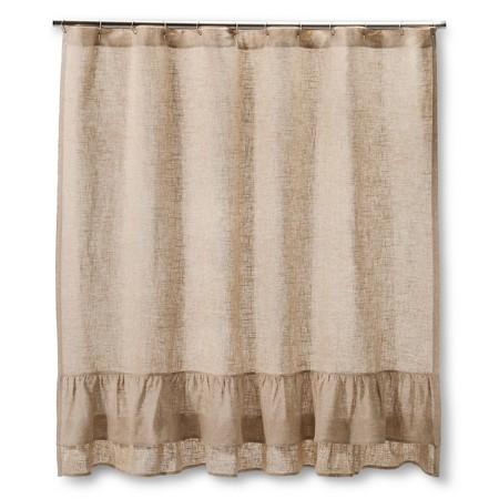 Homthreads Burlap Ruffles Shower Curtain Natural 72 X72 Target