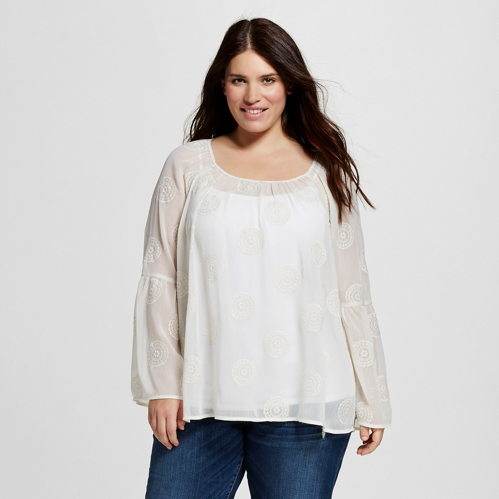 Women's Plus Size Embroidered Peasant Top Cream (Ivory) - Knox Rose