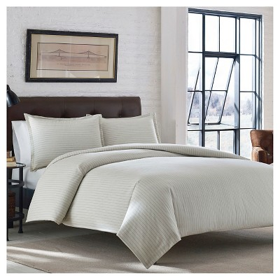 Eddie Bauer Wallace Stripe Flannel Duvet Cover Mini Set - Ivory (King)