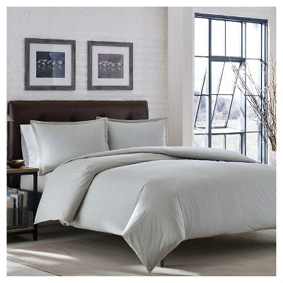 Eddie Bauer Wallace Stripe Flannel Duvet Cover Mini Set - Chrome (King)