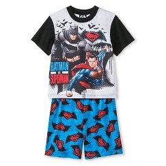 Batman vs. Superman Dawn of Justice Boys' 2 piece Pajama Set- Gray