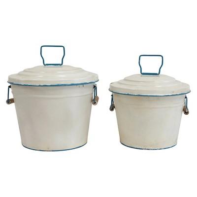 Decorative Bucket Creative Co-Op Metal Multi-colored Round