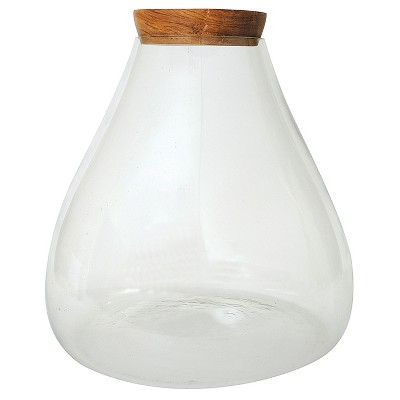 """Round Glass Jar with Wood Lid (14"""")"""