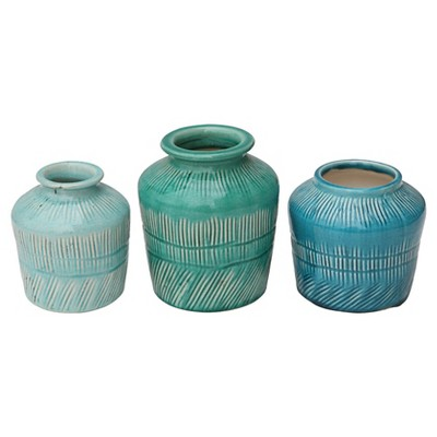 "Stoneware Vases set of 3 (5-7/8""H)"
