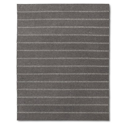 Striped Felt Area Rug Gray 5'x7' - The Industrial Shop™