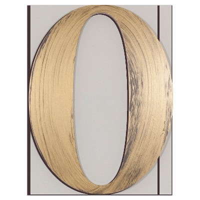 Letter2Word Hand Painted 0 3D Wall Sculpture - Gold