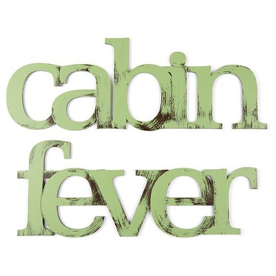 Letter2Word Hand Painted Cabin Fever 3D Wall Sculpture -Green