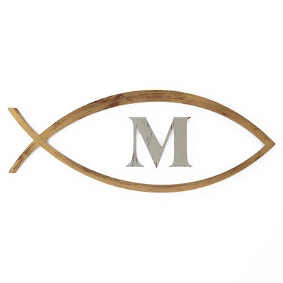 Letter2Word Hand Painted Letter M in Ichthys Fish 3D Wall Sculpture