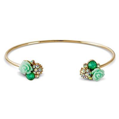 Women's Flower Cluster Open Cuff Bracelet - Mint Gold