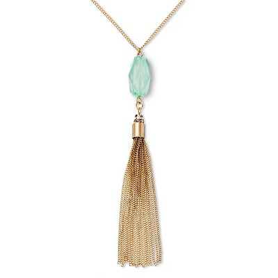 "Women's Tassle Pendant Long Necklace - Mint/Gold (30"")"