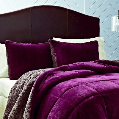 Premium Fleece Comforter Set (King) 3-Piece Purple - Eddie Bauer®