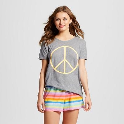Women's T-Shirt Pajama Set Peace Stripe Gray L - Xhilaration™
