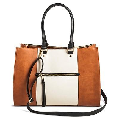 Women's Color Block Tote Faux Leather Handbag with Zip Front Pocket Cognac - Merona™