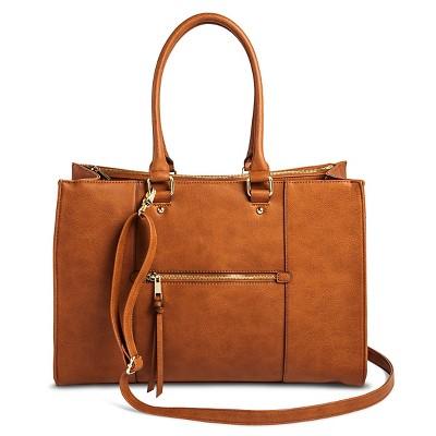Women's Tote Faux Leather Handbag with Zip Front Pocket Cognac - Merona™