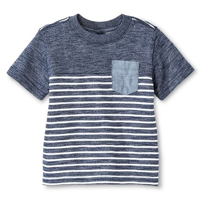 Baby Boys' T-Shirt   - Heather Navy Stripe 12M - Cherokee®