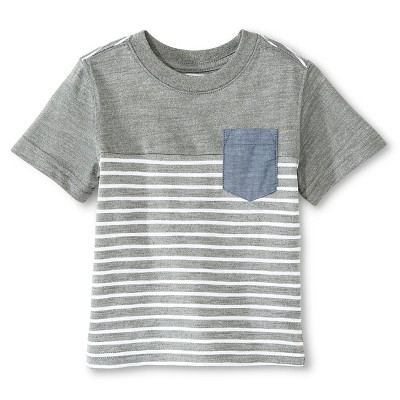 Baby Boys' T-Shirt Heather Gray Stripe 12M - Cherokee®