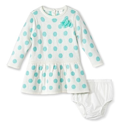 Cherokee® Baby Girls' Polka Dots Sweater Dress - Green 0-3