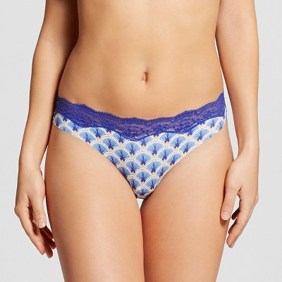 Women's Laser Cut Thong Blue Fan L - Gilligan & O'Malley™