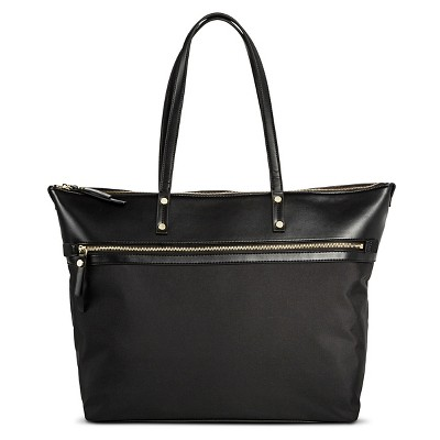 Women's Solid Nylon Work Tote with Faux Leather Trim Black - Merona™