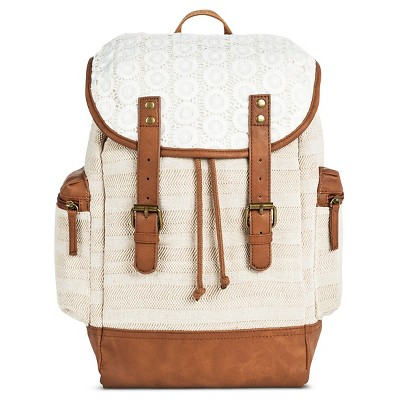 Women's Crochet Backpack Handbag Khaki - Mossimo Supply Co