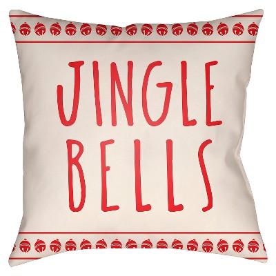 """Jingle Throw Pillow - Red - (18""""x18"""")- Surya"""