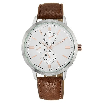 Men's Mossimo Analog Strap Watch - Silver/Brown