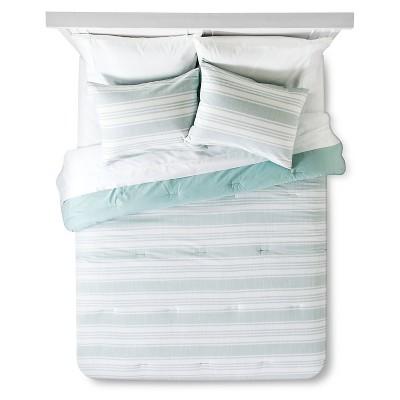 Texture Stripe Comforter Set (Full/Queen) Mint&White 3pc - Threshold™
