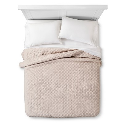 Linen Quilted Coverlet - Queen - Tan - The Industrial Shop™