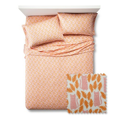 Feline Frolic Sheet Set - Queen - 4 pc - Orange - Pillowfort™