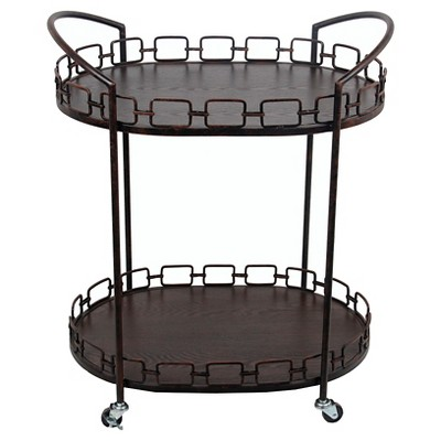 Privilege Oval Bar Cart - Rusted Black