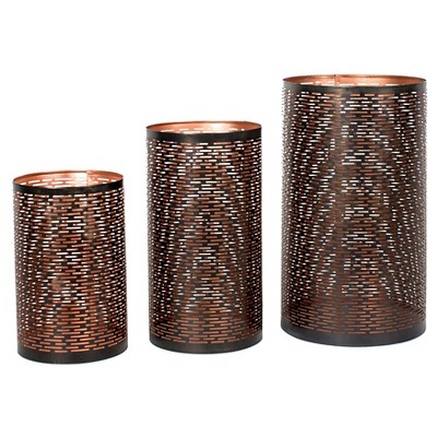 Privilege 3-Piece Iron Candle Holders - Copper