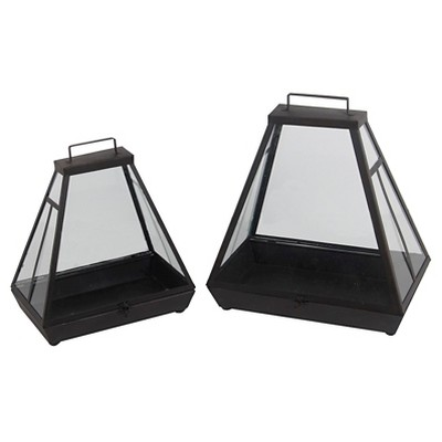 Privilege 2-Piece Metal Lanterns - Black