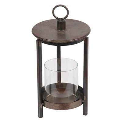 Privilege Small Metal Lantern - Rustic Brown