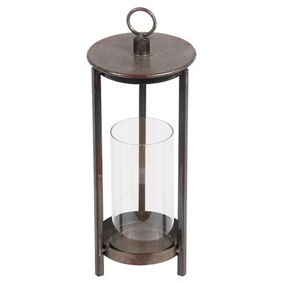 Privilege Large Metal Lantern - Rustic Brown