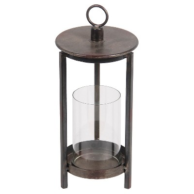Privilege Medium Metal Lantern - Rustic Brown