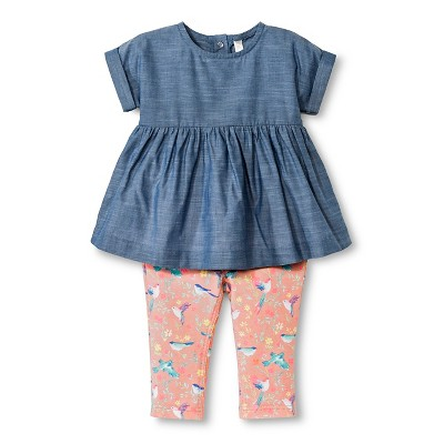 Baby Girls' Tunic and Pant 2 Piece Set Chambray Blue 6-9M - Cherokee®